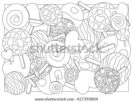 Coloring page lollipops vector illustration, lollipop candy on stick ornament for coloring, adult coloring page with lollipop, sweet lollipop outlined for coloring, coloring picture bunch of lollipops - stock vector