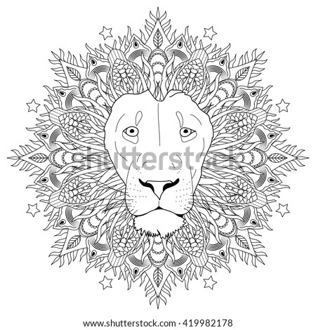 Coloring page - mandala lion head animal adult - stock vector