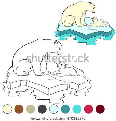 Coloring Page Mother Polar Bear Sits On The Ice Floe With Her Little Cute