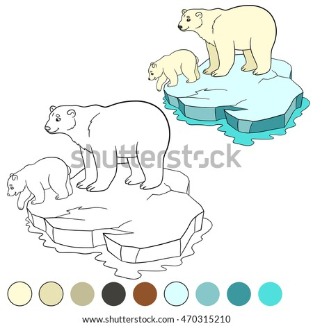Coloring Page Mother Polar Bear Stands On The Ice Floe With Her Little Cute