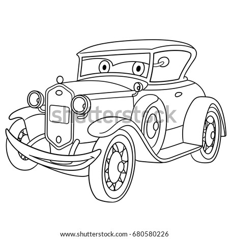 Coloring Page Of American Luxury Retro Old Car Cartoon Vehicle Transport Colouring Book For