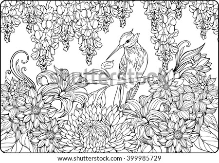 Coloring Page Bird On Branch Garden Stock Vector Royalty