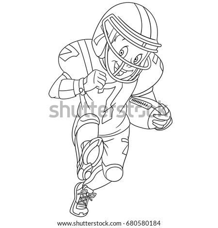 Coloring Page Of Boy Playing Rugby American Football Colouring Book For Kids And Children