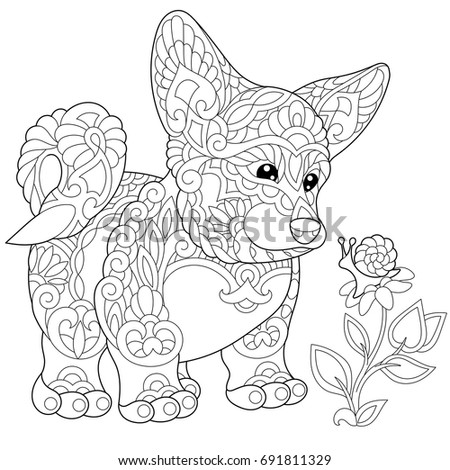 corgi coloring pages - corgi puppy coloring pages sketch coloring page