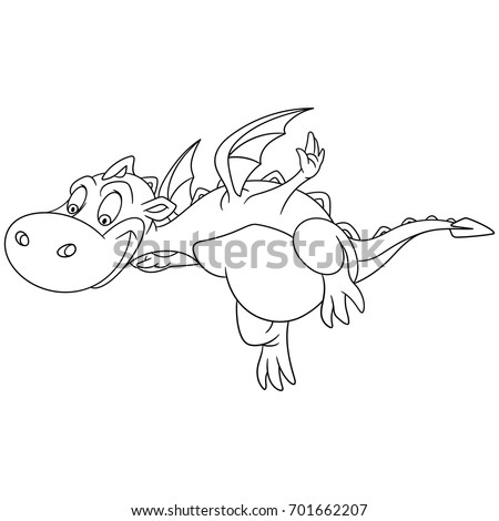 Coloring Page Of Cartoon Dragon Flying Book Design For Kids And Children