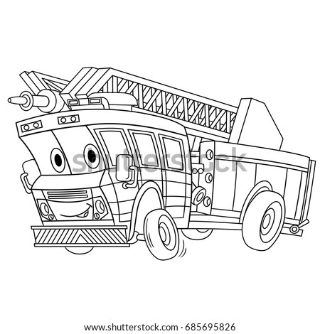 Coloring Page Cartoon Fire Truck Emergency Stock Vector 685695826 ...