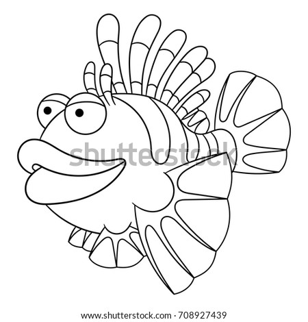 Coloring Page Of Cartoon Lion Fish Book Design For Kids And Children