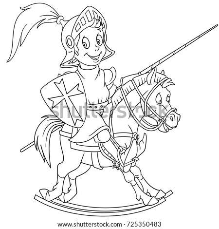 Coloring Page Of Cartoon Medieval Knight Riding A Horse Book Design For Kids And