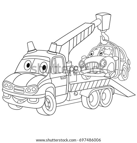 Coloring Page Cartoon Tow Truck Evacuator Stock Vector ...