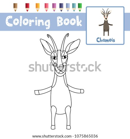 Wonderful Coloring Page Of Chamois Standing On Two Legs Animals For Preschool Kids  Activity Educational Worksheet.
