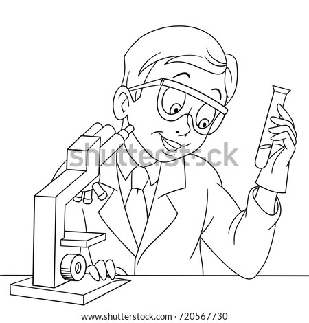 Coloring Page Chemical Scientist Test Tube Stock Vector 720567730 ...