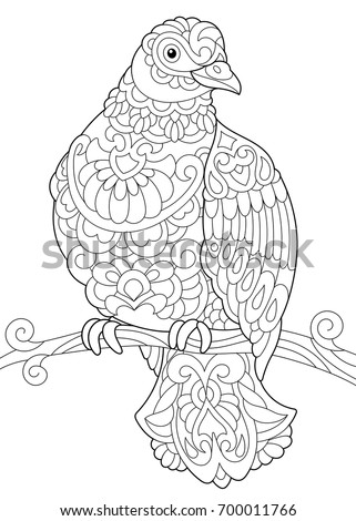 Coloring Page Of Dove (pigeon) Bird Sitting On Tree Branch. Freehand Sketch  Drawing