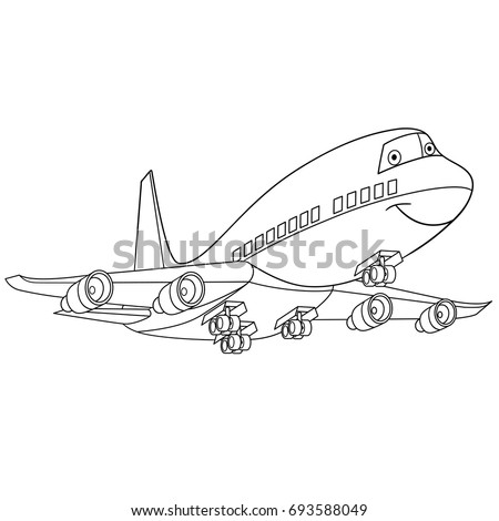 Coloring Page Flying Plane Passenger Aircraft Stock Vector (Royalty ...