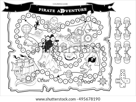 coloring page fun children board game stock vector 495678190