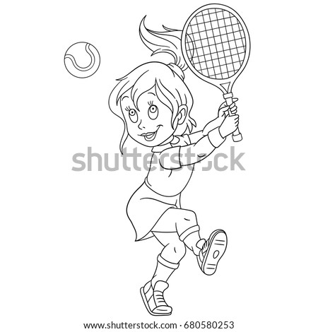 coloring page of girl playing tennis colouring book for kids and children cartoon vector