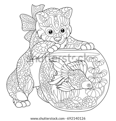 Coloring Page Kitten Wondering About Goldfish Stock Vector