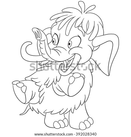 Coloring Page Of Mammoth Elephant Colouring Book For Kids And Children Cartoon Vector