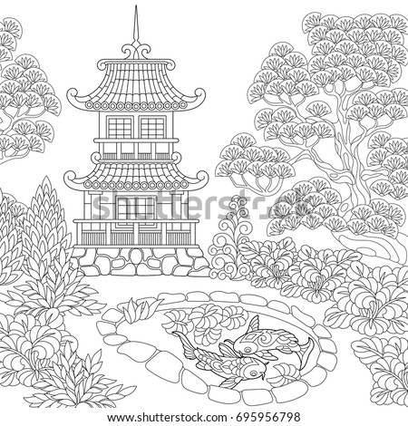Coloring Page Oriental Temple Japanese Chinese Stock Vector Royalty Free 695956798