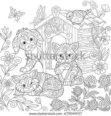 Coloring Page Of Puppy Cat Sparrow Bird Dog Booth Clover Flowers And