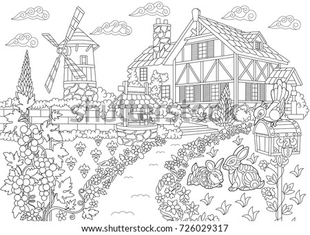 Coloring Page Rural Landscape Farm House Stock Vector (Royalty Free ...