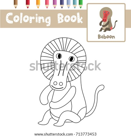 Coloring Page Of Sitting Baboon Animals For Preschool Kids Activity Educational Worksheet Vector Illustration