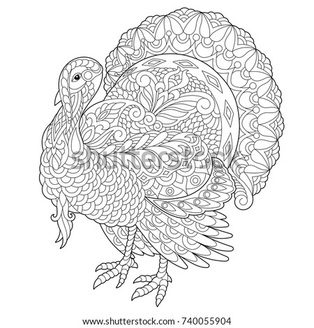 Coloring Page Of Turkey For Thanksgiving Day Greeting Card Freehand Sketch Drawing Adult Antistress