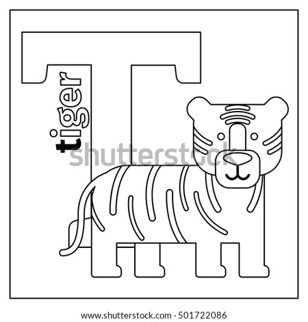 Coloring Page Or Card For Kids With English Animals Zoo Alphabet Tiger Letter T