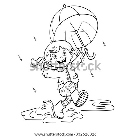 Coloring Page Outline Of A Cartoon Joyful Girl Jumping In The Rain With An Umbrella