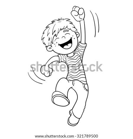 Coloring Page Outline Of A Cartoon  Jumping Boy  - stock vector