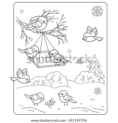 coloring page outline birds winter stock vector