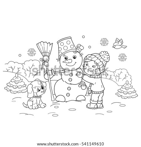 Coloring Page Outline Cartoon Boy Making Stock Vector 541149610 ...