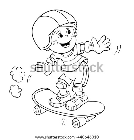 Coloring Page Outline Of Cartoon Boy On The Skateboard Book For Kids