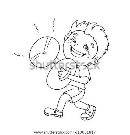 coloring page outline of cartoon boy playing the cymbals musical instruments coloring book for