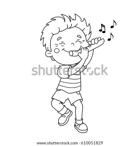 Coloring Page Outline Of Cartoon Boy Playing The Flute Musical Instruments Book For