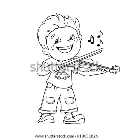 Coloring Page Outline Cartoon Boy Playing Stock Vector 610051826 ...