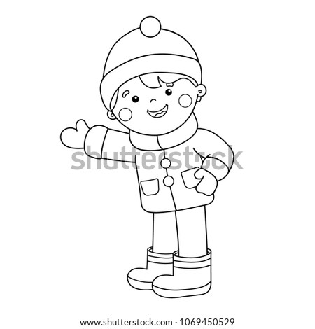 Coloring Page Outline Cartoon Boy Winter Stock Vector 1069450529 ...