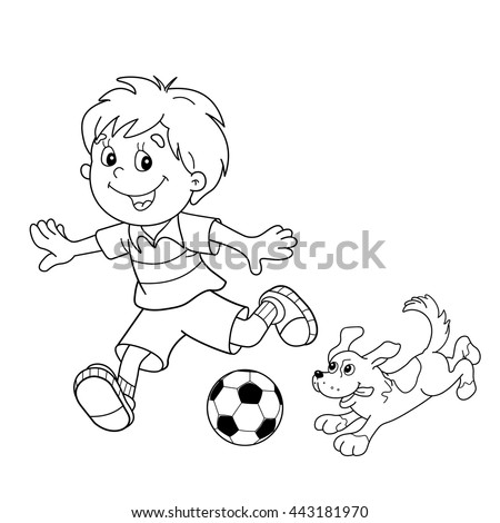 coloring page outline of cartoon boy with a soccer ball with dog football coloring