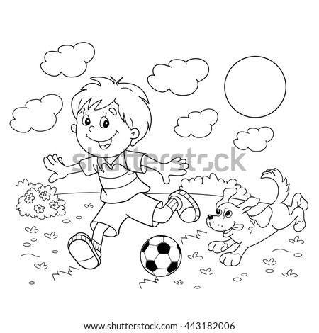 Coloring Page Outline Cartoon Boy Soccer Stock Vector (Royalty Free ...