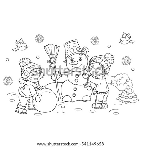 Coloring Page Outline Cartoon Boy Girl Stock Vector (Royalty Free ...