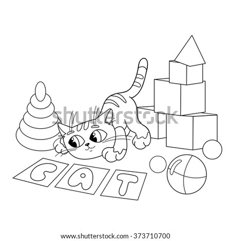Coloring Page Outline Of cartoon cat playing with toys. Coloring book for kids
