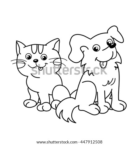 Coloring Page Outline Of Cartoon Cat With Dog Pets Book For Kids