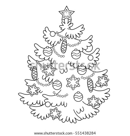 Coloring Page Outline Of Cartoon Christmas Tree With Ornaments And Gifts New Year