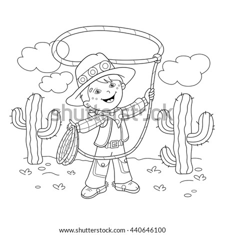 Coloring Page Outline Of Cartoon Cowboy With Lasso Book For Kids
