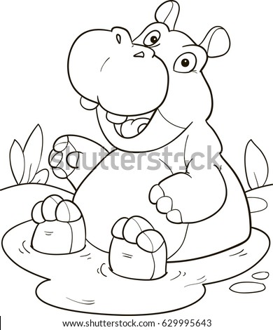 Coloring Page Outline Of Cartoon Cute Hippo In A Puddle Vector Illustration Book