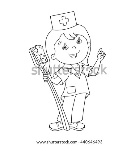 coloring page outline of cartoon doctor with a toothbrush profession medicine coloring book - Toothbrush Coloring Page