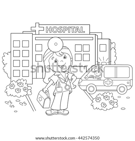 Coloring Page Outline Of Cartoon Doctor With Ambulance Car Near The Hospital Profession Medicine