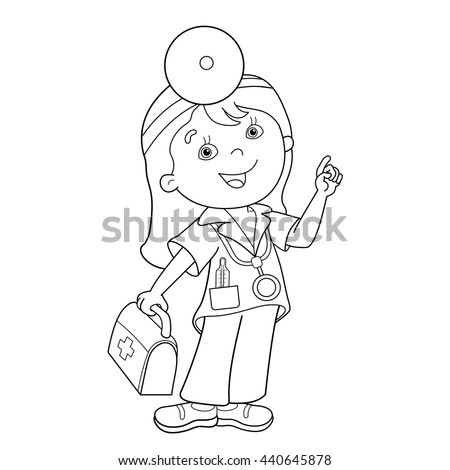 coloring page outline of cartoon doctor with first aid kit profession medicine coloring