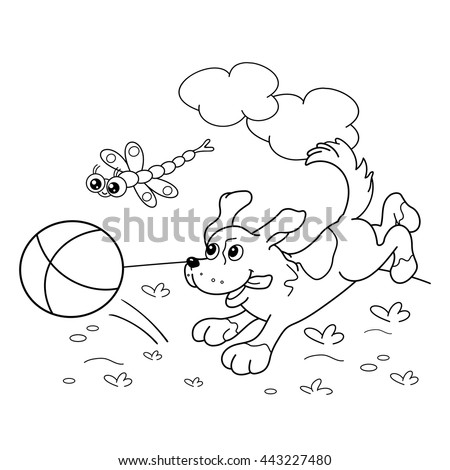 Coloring Page Outline Of Cartoon Dog With Ball And Dragonfly Book For Kids