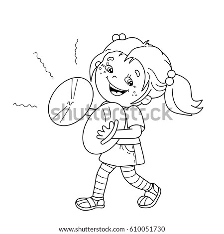 coloring page outline of cartoon girl playing the cymbals musical instruments coloring book for