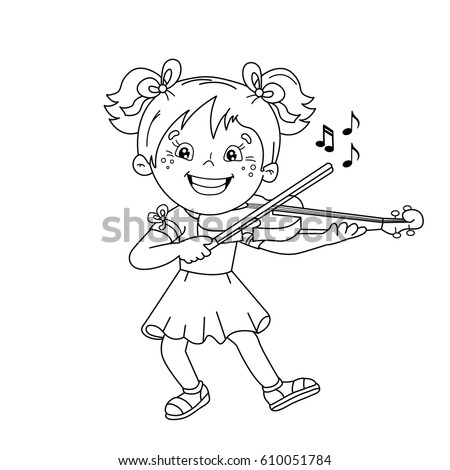 Coloring Page Outline Cartoon Girl Gift Stock Vector 551435746